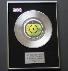 Paul McCartney & WINGS - Band On The Run PLATINUM single presentation DISC